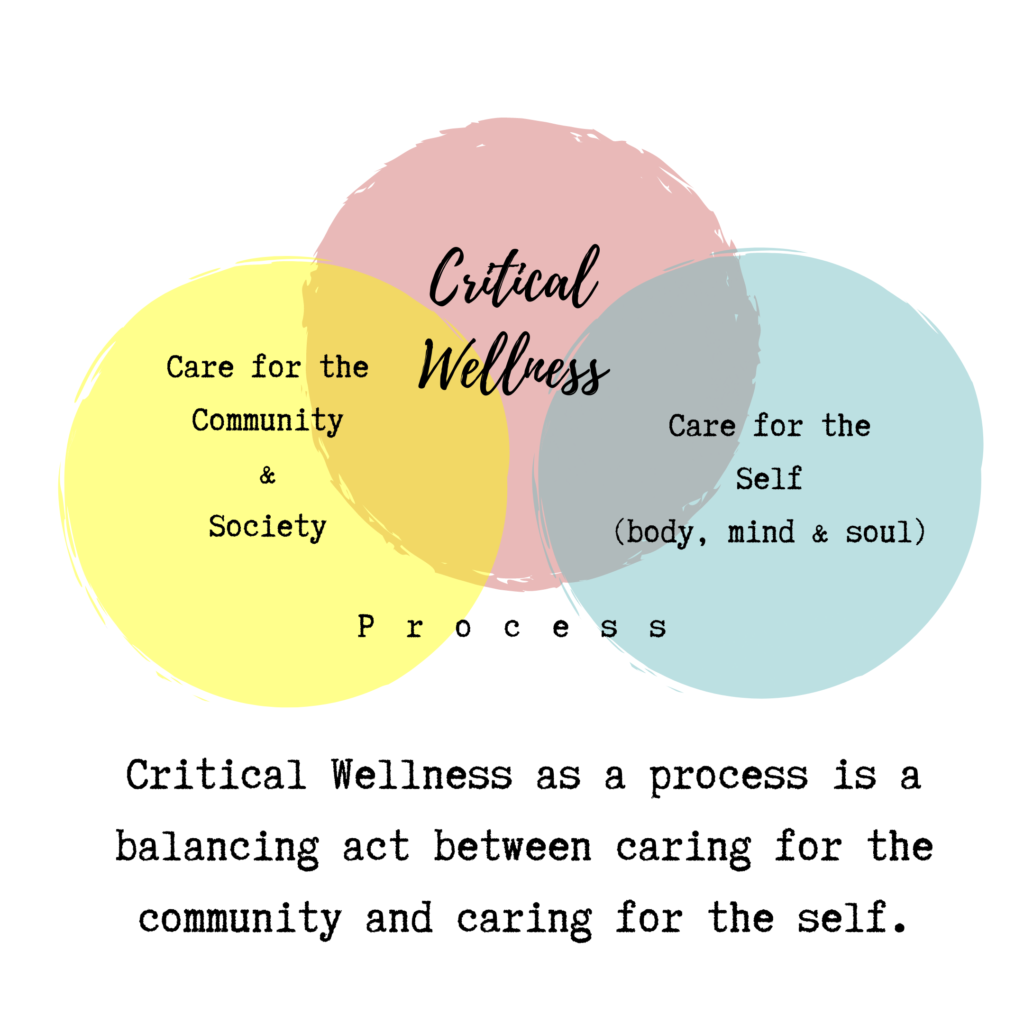 Critical Wellness as a process is a balancing act between caring for the community and caring for the self.